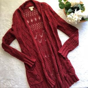 Lucky Brand Red Open Knit Cardigan